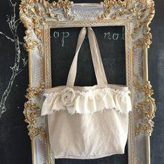 Linen Ruffle Tote Shabby Chic Bridal Gift Bag Handmade