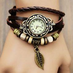 Damen Retro Baum Blatt Leder Armkette Armband Armbanduhr Uhren Uhr Watches Bunt: Amazon.de: Uhren