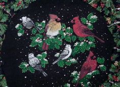 Cardinals and Holly Christmas Wreath! 46 inches around # $ 75.00