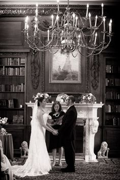 Julia & Scott: Mini wedding celebration -- This room is just perfect for black and white