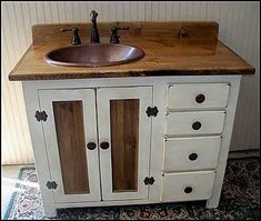 Rustic Farmhouse Vanity Copper Sink 42 Off-white Bathroom Vanity Bathroom Vanity with Sink Rustic Vanity Farmhouse Vanity Country Bathroom Vanities, Bathroom Vanity Units, White Vanity Bathroom, Vanity Sink, Small Bathroom, Bathroom Shelves, Pink Vanity, Bathroom Sinks, Bath Vanities