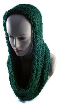 Hand Knitted Dark Sage Infinity Scarf or Hooded Cowl   craftingmemories - Knitting on ArtFire