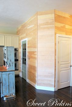 DIY plank wall, I'm thinking feature wall in the master, sewing room and the half wall on the stairs.