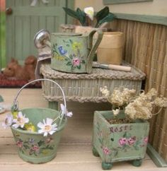 how to: miniature painted bucket, planter, and watering can