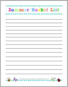 Summer bucket list - great way to be intentional and create lasting memories for the kids!