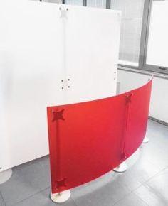Trennwände freistehend rot weiss Milchglas
