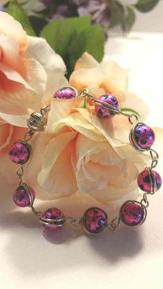 Pink wire wrapped bracelet