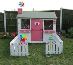1000 images about wendy houses on pinterest wendy house for Wooden wendy house ideas