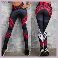 Maoxzon Womens Letter Print Sexy Slim Fitness Workout Bodycon Pants Fashion Active Elastic Skinny Leggings Trousers For Female