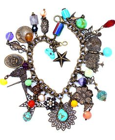 Antiqued charm bracelet w/turquoise & vintage charms~love charms......