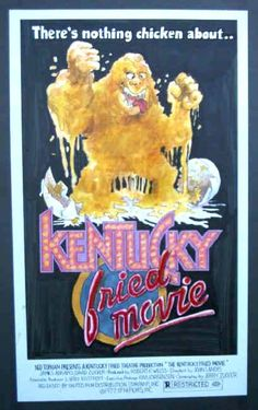 Kentucky Fried Movie Original David Weisman Movie Poster Preliminary Study Artwork: This color production original artwork study was done in 1977 for the second movie poster ad campaign of the John Landis film. The large colorfast marker image is drawn on 14 x 24 inch thin white paper and is mounted on 20 x 29 inch black crescent board, hand-lettered logo and some hand-lettered screen credits. Offered with the completed poster painting by John Dearstyne for $1,850
