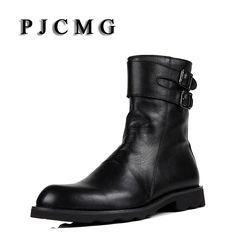 ==> [Free Shipping] Buy Best PJCMG Men's Genuine Leather Black Outdoor Waterproof Rubber Buckle Strap Martin Business Office Formal For Mens Boots With Fur Online with LOWEST Price | 32824915661