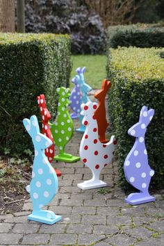Polka Dot Easter Bunnies and Roosters