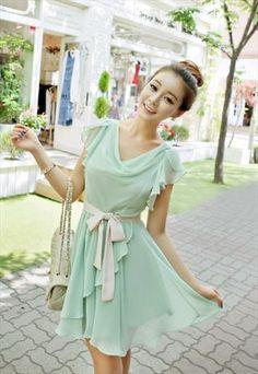 Sweet Butterfly Sleeves Cowl Neck Mint Green Chiffon Dress