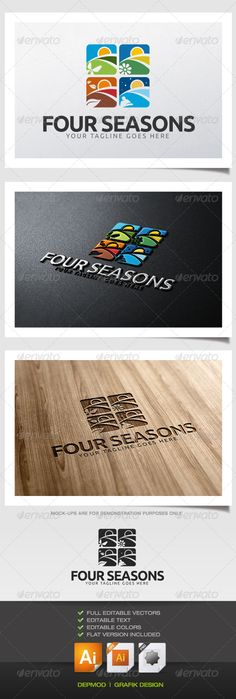 Four Seasons Logo  #GraphicRiver         Logo of 4 seasons (spring, summer, fall, winter). Can be used for many kind of project. Full vectors, this logo can be easily resize and colors can be changed to fit your project. Flat versions (black) for print also included. The font used is in a download file in the package.   Font : font.ubuntu /   Files provided : .ai (CC and CS), .eps, .jpg, .png (transparent)                     Created: 29 November 13                    Graphics Files…