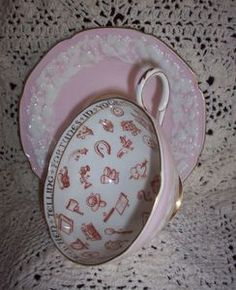 Vintage Pink Paragon Cup & Saucer Fortune Telling, Tea Leaf Reading -- Rare and seemingly mystical, Paragon China originally made them as a fun piece of dinnerware...to be used as entertainment for guests by the best of hostesses. Very pretty. $SOLD