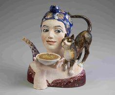 Tea party teapot by artist Boris Kustodiev...