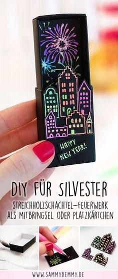 Streichholzschachtel DIY - New Ideas Diy Silvester, Diy Crafts To Do, Thanks Card, New Years Decorations, New Year Gifts, New Years Eve, Diy Gifts, Hand Lettering, How To Memorize Things