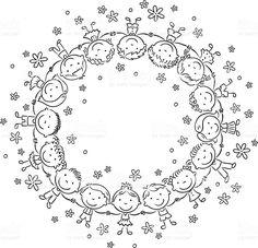 Feliz crianças em círculo, Contorno download vetor e ilustração royalty-free