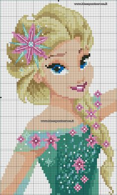 Frozen Fever - Queen Elsa perler bead pattern                                                                                                                                                                                 More