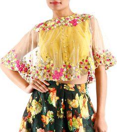 Multicoloured Embroidered Silk Cape