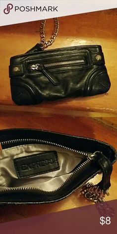 Express black wristlet Black wristlet with chain handle. In good condition small amount of wear Express Bags Clutches & Wristlets