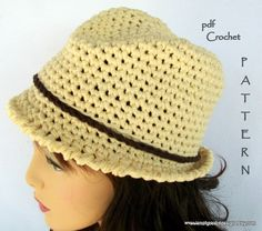 Crochet Pattern Double the Fun Cloche-Fedora Hat for Women and Teens  Crochet Beanie caacf3b00d0e