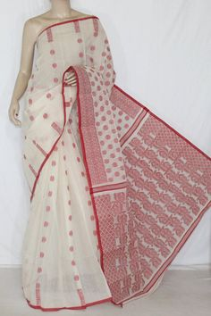 Off-White Red Handwoven Bengali Tant Cotton Saree (Without Blouse) 13876