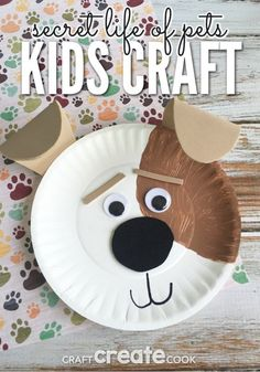 Kids will love this easy Secret Life of Pets Max the dog craft! : cat paper plate craft - Pezcame.Com