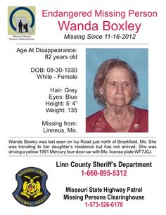 12/27/2012: Missouri: Please share to locate Wanda Boxley (82) missing from LINNEUS, MISSOURI since... pinned with Pinvolve