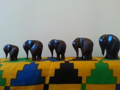 Set of hand carved wooden Elephants. Made in Ghana.