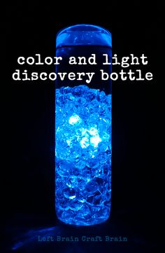 How to Make a Color and Light Discovery Bottle - Left Brain Craft Brain Sensory Rooms, Sensory Activities, Sensory Play, Toddler Activities, Learning Activities, Colour Activities, Sensory Bags, Calm Down Bottle, Brain Craft