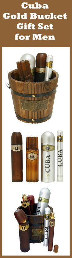 Cuba Gold Bucket 5 Pc Gift Set includes a full-size cologne and aftershave, a large body spray, and a travel-size cologne. It's the perfect gift for Thanksgiving, Christmas, as a birthday gift or in any other occasion. #cuba #Cigar