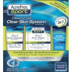 Acnefree Sport Clear 2-go Clear Skin System, 1 Kit. Exp 02/12 by acne free. $29.99. Acnefree Sport Clear 2-go Clear Skin System, 1 Kit. Exp 02/12 Product Features      Non stop acne clearing     Effective against all acne including breakouts caused by perspiration, oils, dirt, and friction that come with sports and workouts.     Time released TripleCLEAR Therapy. 3X Antibacterial Power Benzoyl Peroxide and Salicylic Acid and Benzalkonium Chloride  Important Information I...