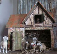 Old German Stable with a Flock of Putz Sheep Prim Christmas, Antique Christmas, Christmas Items, Country Christmas, Christmas Crafts, Christmas Decorations, Holiday Decor, Christmas Mantels, Christmas Greetings