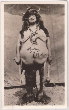 """Bo-Bo"" sideshow wildman who was also double billed as a fat man weighing in at 540 pounds promotional pitchcard."