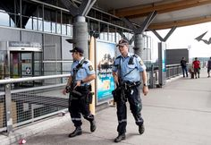 Travelers Beware: Norway Expects a Terrorist Attack. This photo shows the security force of the Velkommen til Oslo airport.