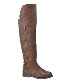 Love this Cognac Ryder Over-the-Knee Stretch-Back Boot on #zulily! #zulilyfinds