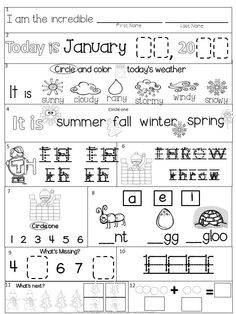 January Kindergarten Morning Work 21 Pages(+ 21 differentiated pages) winter theme