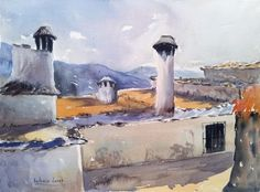Acuarela Serie Alpujarras chimeneas de la Tah de Pitres