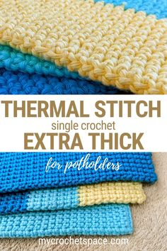 Easy Crochet Stitches, Crochet Potholders, Crochet Blanket Patterns, Crochet Stitch Tutorial, Dishcloth Crochet, Crochet Hot Pads, Crochet Towel, Chunky Crochet, Single Crochet