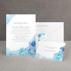Watercolor Roses - Blue - Invitation | Invitations By Dawn