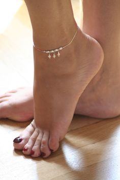 Feminine, delicate, ankle bracelet Stirling Silver OurSerendipityStones $18