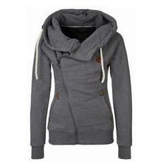 Dark Grey Asymmetric Zipper UP Hoodie