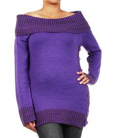 Purple Side-Button Off-Shoulder Sweater - Plus #zulily #zulilyfinds