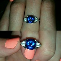 Sterling silver, sapphire ring Women's size 8. Sterling silver, sapphire ring Jewelry Rings