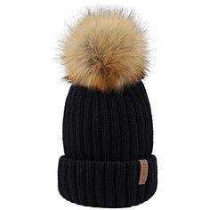 e21ac1b1184 Women Knitted Winter Pom Beanie Hat Faux Fur Women Winter Accessories Gift   womenhatswinter
