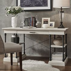Darby Home Co Gail Executive Desk Finish: Desk With Keyboard Tray, Wood Computer Desk, Wood Writing Desk, Writing Desk With Drawers, White Writing Desk, Home Office Desks, Office Decor, Office Ideas, Office Nook