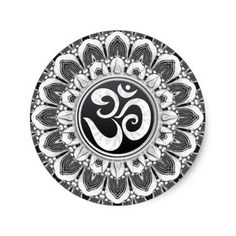 Black+White Petals Aum Mandala Art Round Sticker