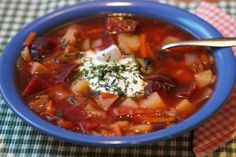 """Borscht is a sour soup common in Eastern Europe and Northern Asia. In English, the word """"borscht"""" is most often associated with the soup's variant of Ukrainian origin, one of the most famous dishes of Ukrainian cuisine. Russian Dishes, Russian Recipes, Russian Borscht Soup, Traditional Russian Food, Great Recipes, Soup Recipes, Hangover Food, Hearty Vegetable Soup, Argent Paypal"""